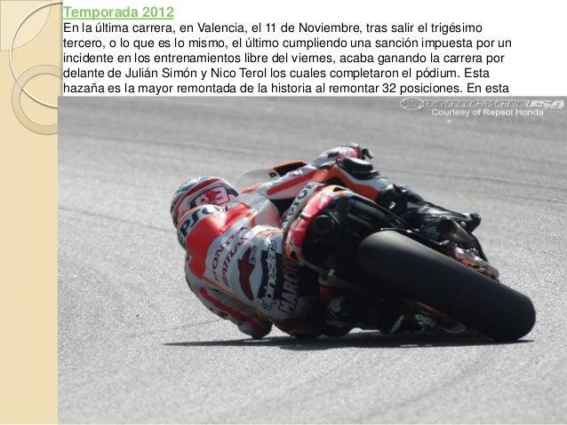 Temporada 2012En la última carrera, en Valencia, el 11 de Noviembre, tras salir el trigésimotercero, o lo que es lo mismo,...