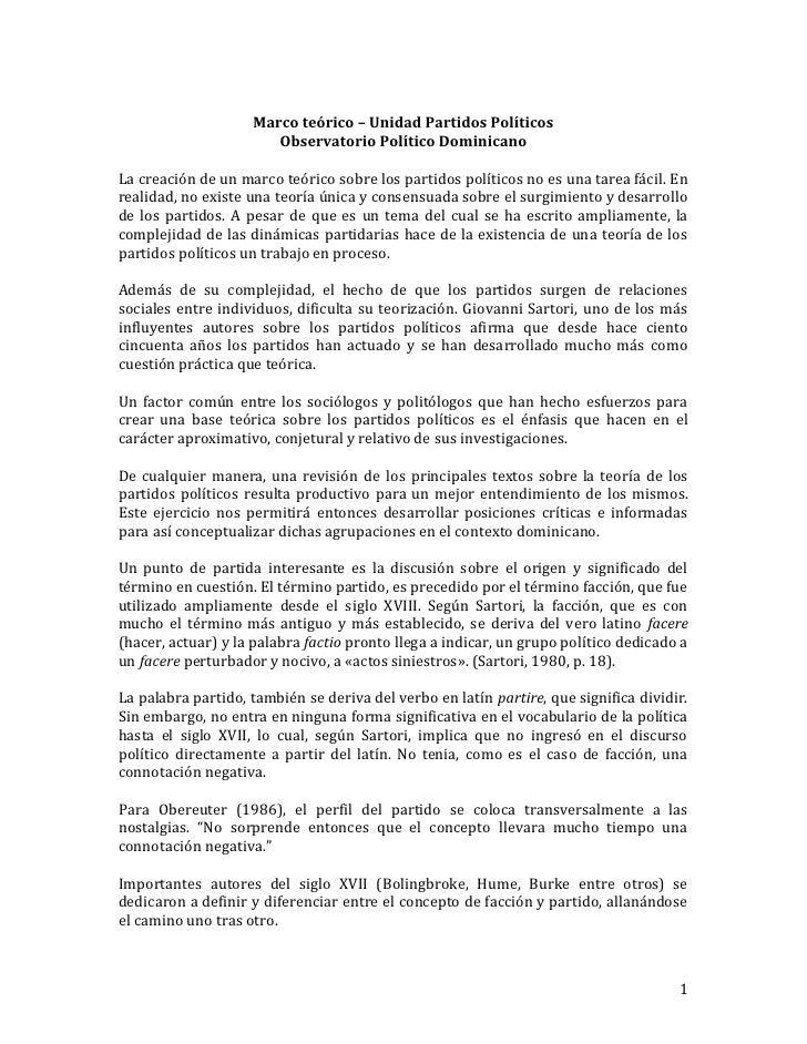 Marco teórico – Unidad Partidos Políticos                        Observatorio Político Dominicano  La creación de un marco...