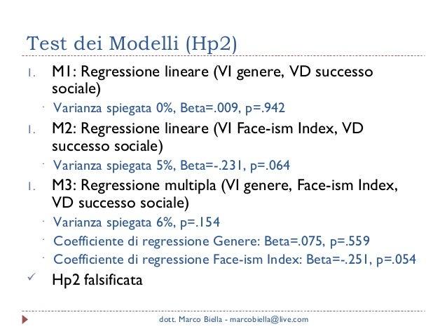 Test dei Modelli (Hp2) M1: Regressione lineare (VI genere, VD successo sociale)  1. ·  M2: Regressione lineare (VI Face-is...