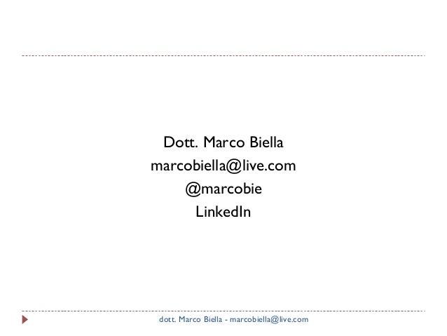 Dott. Marco Biella marcobiella@live.com @marcobie LinkedIn  dott. Marco Biella - marcobiella@live.com