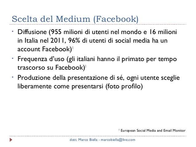 Scelta del Medium (Facebook) •  • •  Diffusione (955 milioni di utenti nel mondo e 16 milioni in Italia nel 2011, 96% di u...