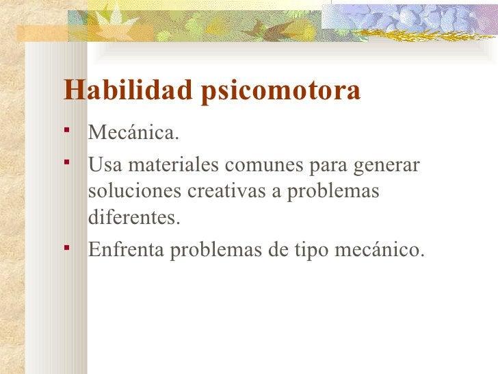 Habilidad psicomotora <ul><li>Mecánica. </li></ul><ul><li>Usa materiales comunes para generar soluciones creativas a probl...