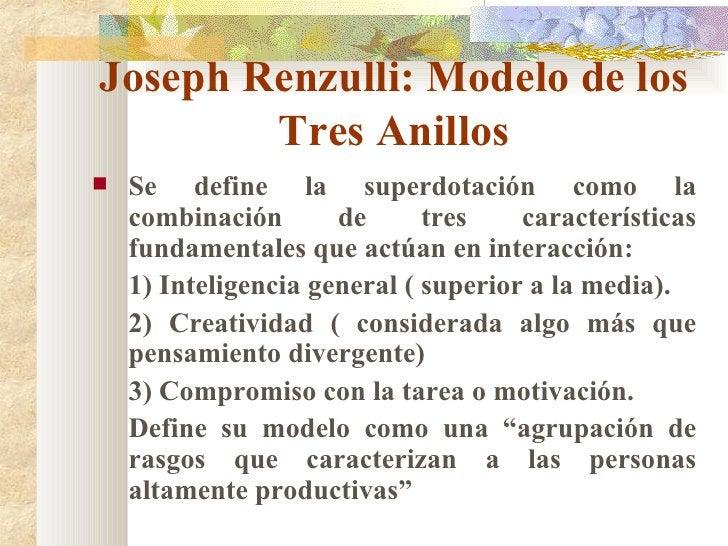 Joseph Renzulli: Modelo de los Tres Anillos <ul><li>Se define la superdotación como la combinación de tres características...