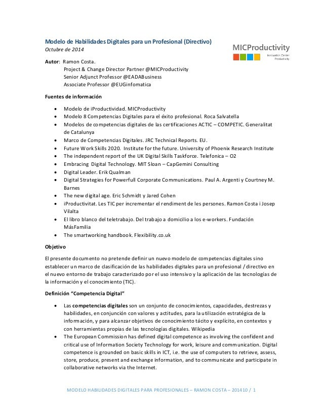MODELO HABILIDADES DIGITALES PARA PROFESIONALES – RAMON COSTA – 201410 / 1 Modelo de Habilidades Digitales para un Profesi...