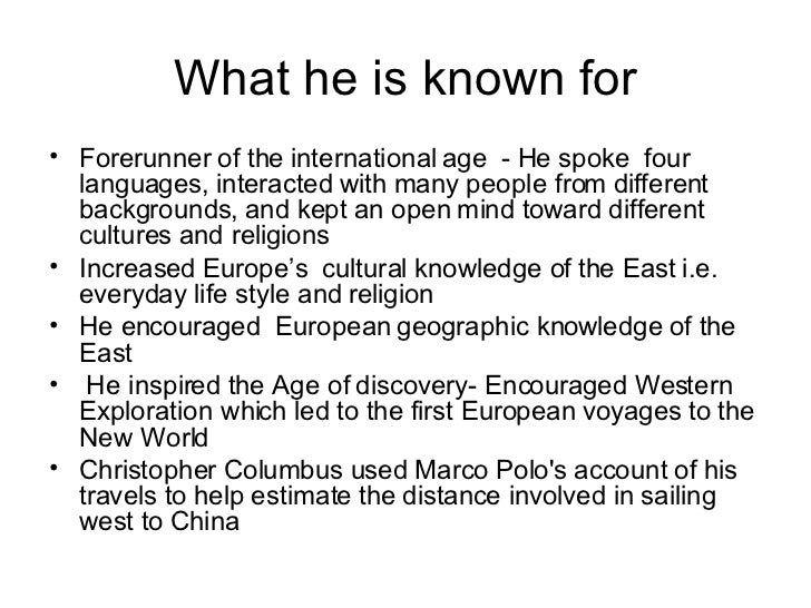 marco polos life essay Life and accomplishments of marco polo essays and term papers available at echeatcom, the largest free essay community.