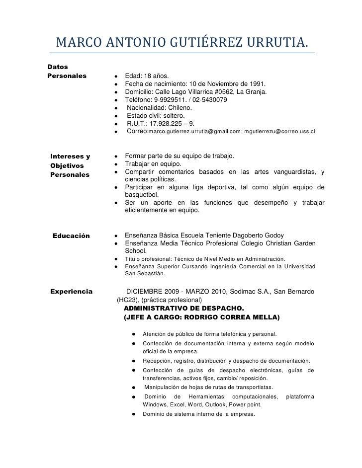 Modelo De Un Curriculum Vitae Chile