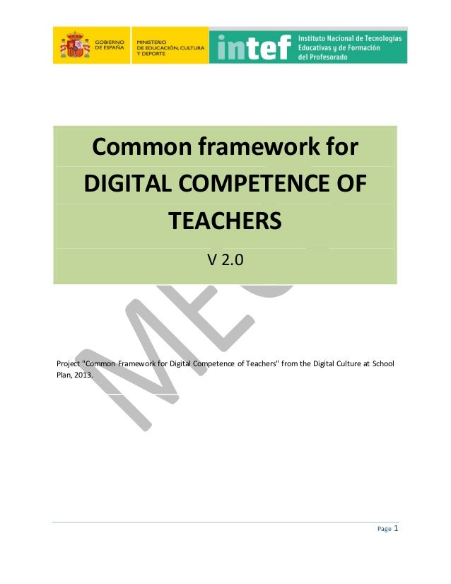 """Page 1 Common framework for DIGITAL COMPETENCE OF TEACHERS V 2.0 Project """"Common Framework for Digital Competence of Teach..."""