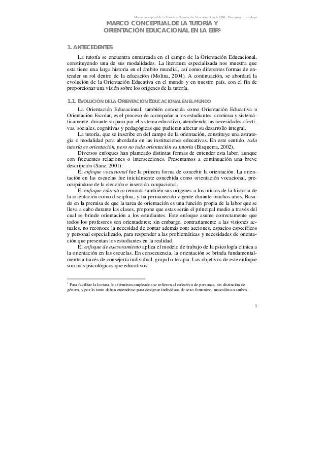Marco conceptual de la Tutoría y Orientación Educacional en la EBR - Documento de trabajo 1 MARCO CONCEPTUAL DE LA TUTORÍA...
