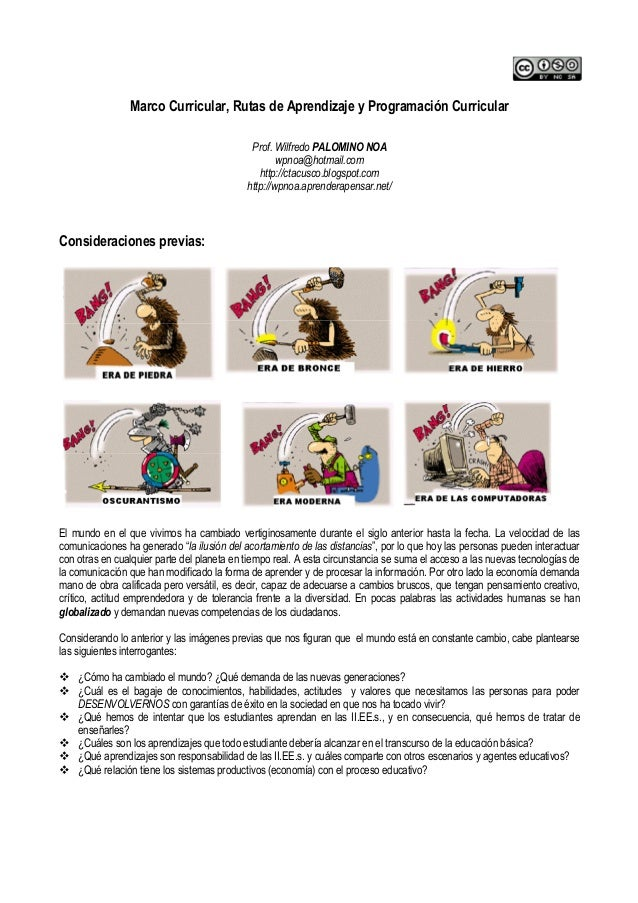 Marco Curricular, Rutas de Aprendizaje y Programación CurricularProf. Wilfredo PALOMINO NOAwpnoa@hotmail.comhttp://ctacusc...