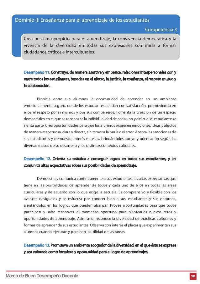 Competencia 3 30 Crea un clima propicio para el aprendizaje, la convivencia democrática y la vivencia de la diversidad en ...