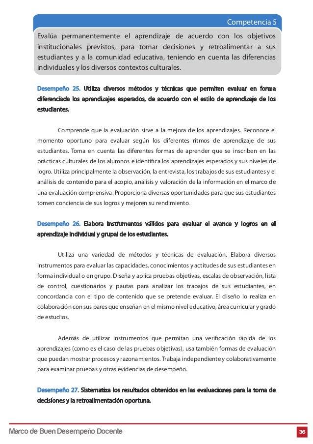 Competencia 5 Evalúa permanentemente el aprendizaje de acuerdo con los objetivos institucionales previstos, para tomar dec...