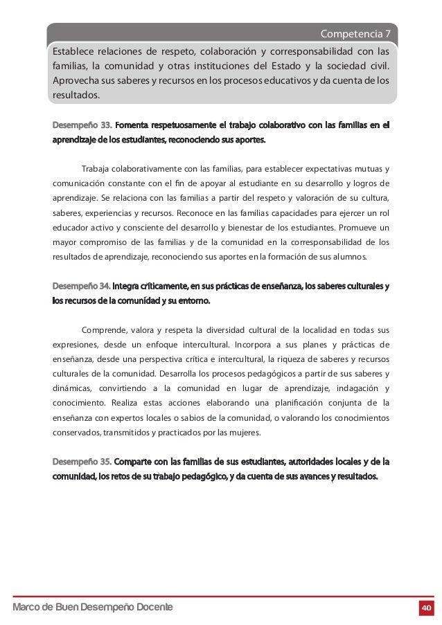 Competencia 7 40 Establece relaciones de respeto, colaboración y corresponsabilidad con las familias, la comunidad y otras...