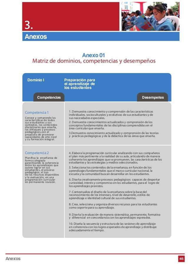 45 Competencias Desempeños Dominio I Preparación para el aprendizaje de los estudiantes Competencia 1 Conoce y comprende l...