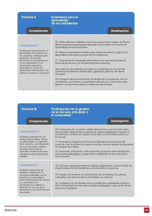 Dominio II Enseñanza para el aprendizaje de los estudiantes 47 Competencias Desempeños Dominio III Participación en la ges...