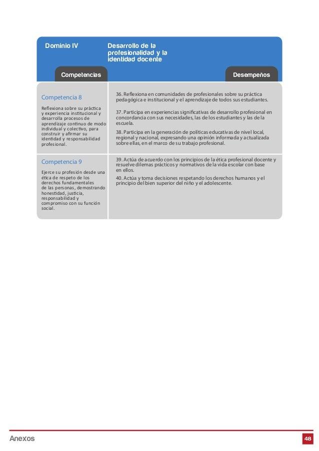 48 Competencias Desempeños Dominio IV Desarrollo de la profesionalidad y la identidad docente Competencia 8 Reflexiona sobr...