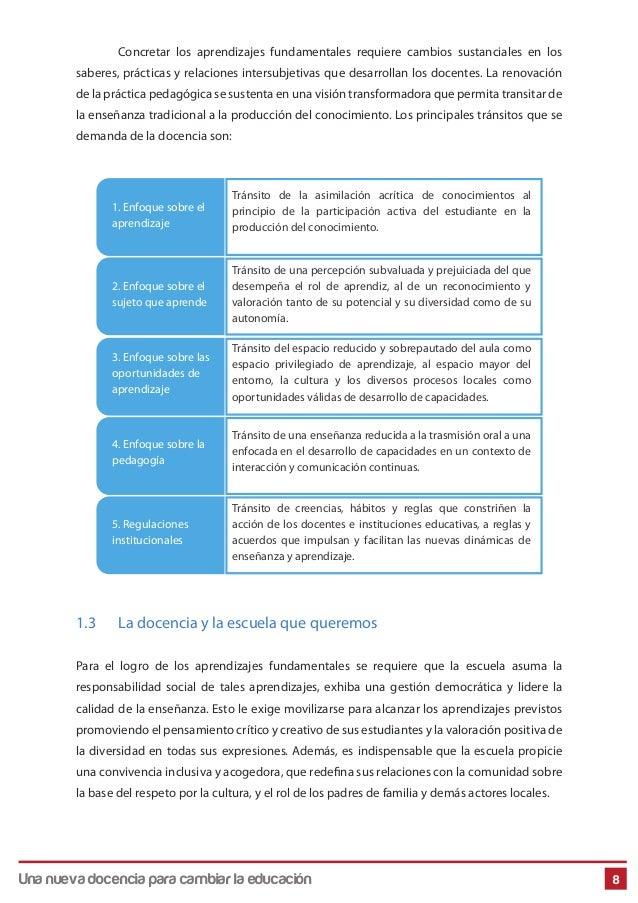 Una Nueva Docencia Para Cambiar La Educación 8 Concretar los aprendizajes fundamentales requiere cambios sustanciales en l...