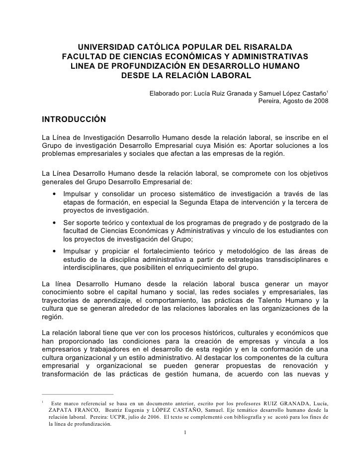 UNIVERSIDAD CATÓLICA POPULAR DEL RISARALDA          FACULTAD DE CIENCIAS ECONÓMICAS Y ADMINISTRATIVAS            LINEA DE ...