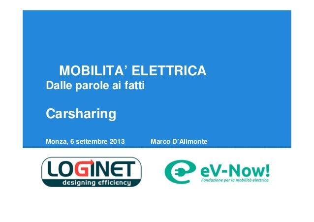 MOBILITA' ELETTRICA Dalle parole ai fatti  Carsharing Monza, 6 settembre 2013  Marco D'Alimonte