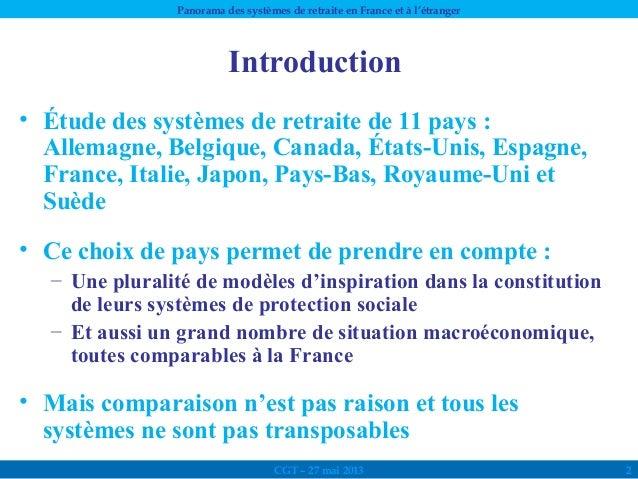 Panorama des systèmes de retraites en France et à l'étranger Slide 2