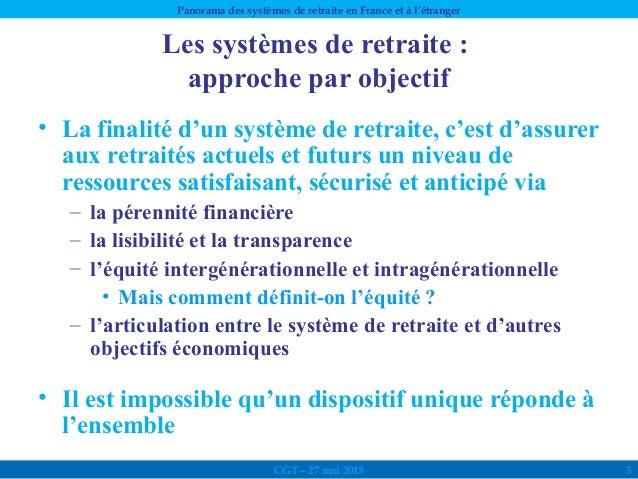 Panorama des systèmes de retraites en France et à l'étranger Slide 3