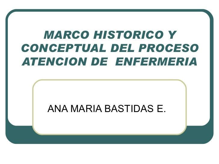 MARCO HISTORICO Y CONCEPTUAL DEL PROCESO ATENCION DE  ENFERMERIA ANA MARIA BASTIDAS E.
