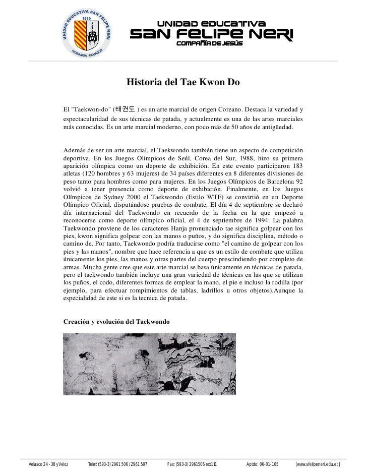"""Historia del Tae Kwon Do                     El """"Taekwon-do"""" (태권도 ) es un arte marcial de origen Coreano. Destaca la varie..."""