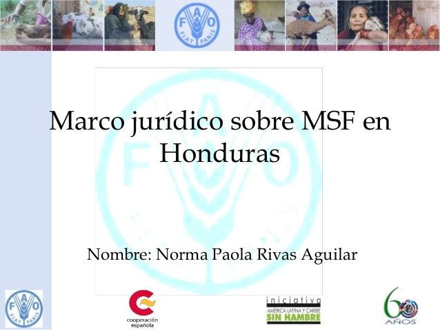 Marco jurídico sobre MSF en Honduras Nombre: Norma Paola Rivas Aguilar