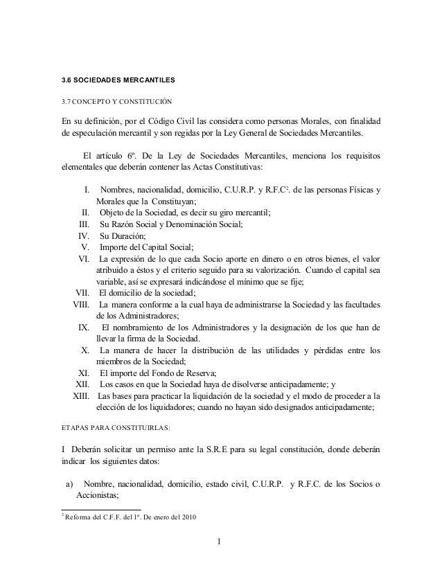 3.6 SOCIEDADES MERCANTILES 3.7 CONCEPTO Y CONSTITUCIÓN  En su definición, por el Código Civil las considera como personas ...