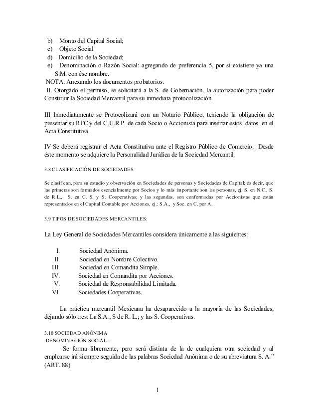 b) Monto del Capital Social; c) Objeto Social d) Domicilio de la Sociedad; e) Denominación o Razón Social: agregando de pr...