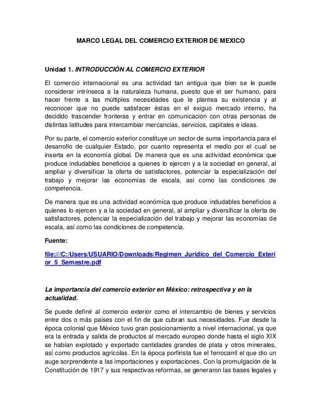 Marco legal del comercio exterior de mexico for De comercio exterior