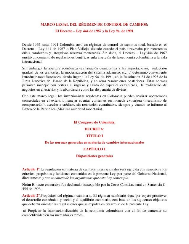 MARCO LEGAL DEL RÉGIMEN DE CONTROL DE CAMBIOS: El Decreto – Ley 444 d…