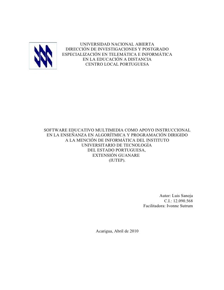 UNIVERSIDAD NACIONAL ABIERTA        DIRECCIÓN DE INVESTIGACIONES Y POSTGRADO       ESPECIALIZACIÓN EN TELEMÁTICA E INFORMÁ...