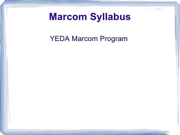Marcom Syllabus YEDA Marcom Program