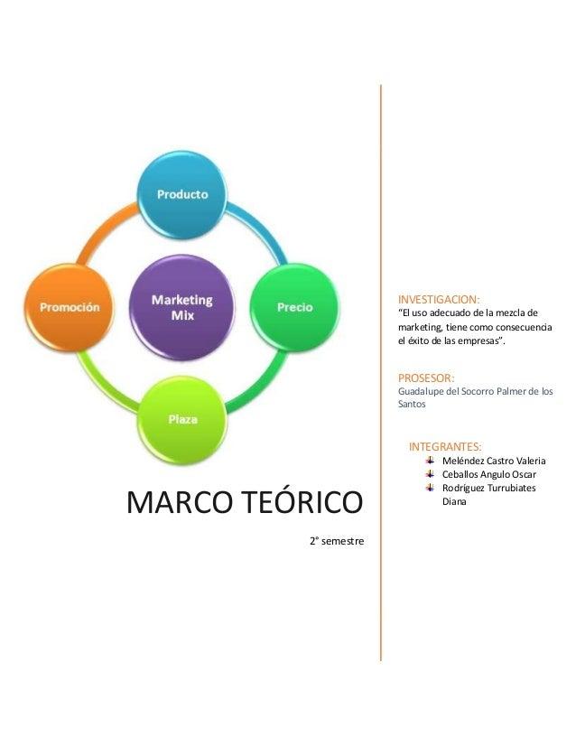 """MARCO TEÓRICO 2° semestre INVESTIGACION: """"El uso adecuado de la mezcla de marketing, tiene como consecuencia el éxito de l..."""