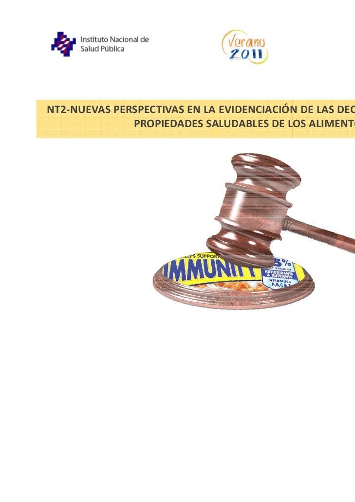 NT2‐NUEVASPERSPECTIVASENLAEVIDENCIACIÓN DELASDECLARACIONESSOBRE              PROPIEDADESSALUDABLESDELOSALIMENTOS