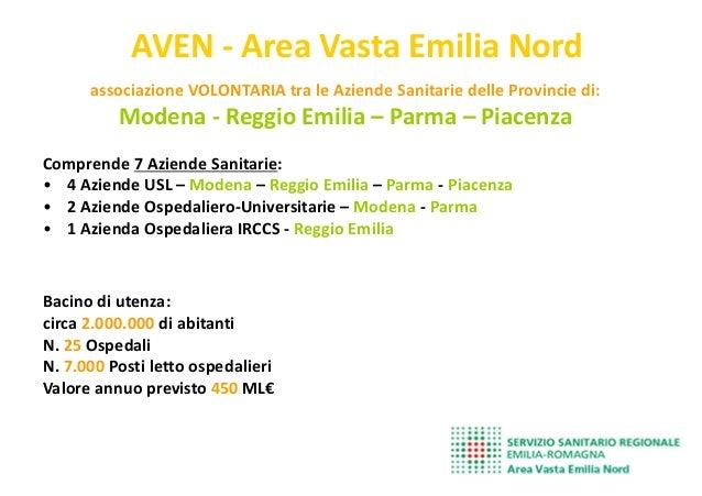 AVEN - Area Vasta Emilia Nord associazione VOLONTARIA tra le Aziende Sanitarie delle Provincie di: Modena - Reggio Emilia ...