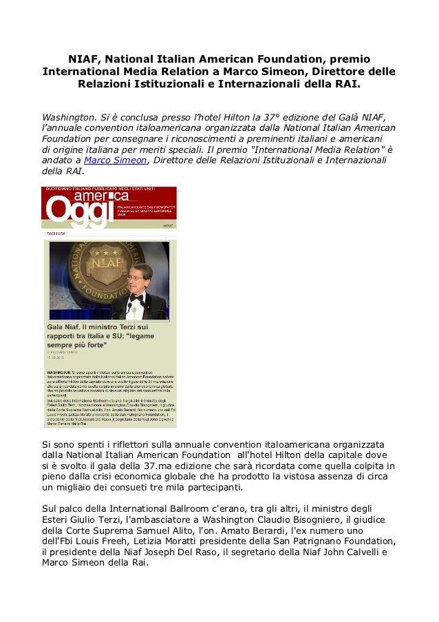 NIAF, National Italian American Foundation, premioInternational Media Relation a Marco Simeon, Direttore delle      Relazi...
