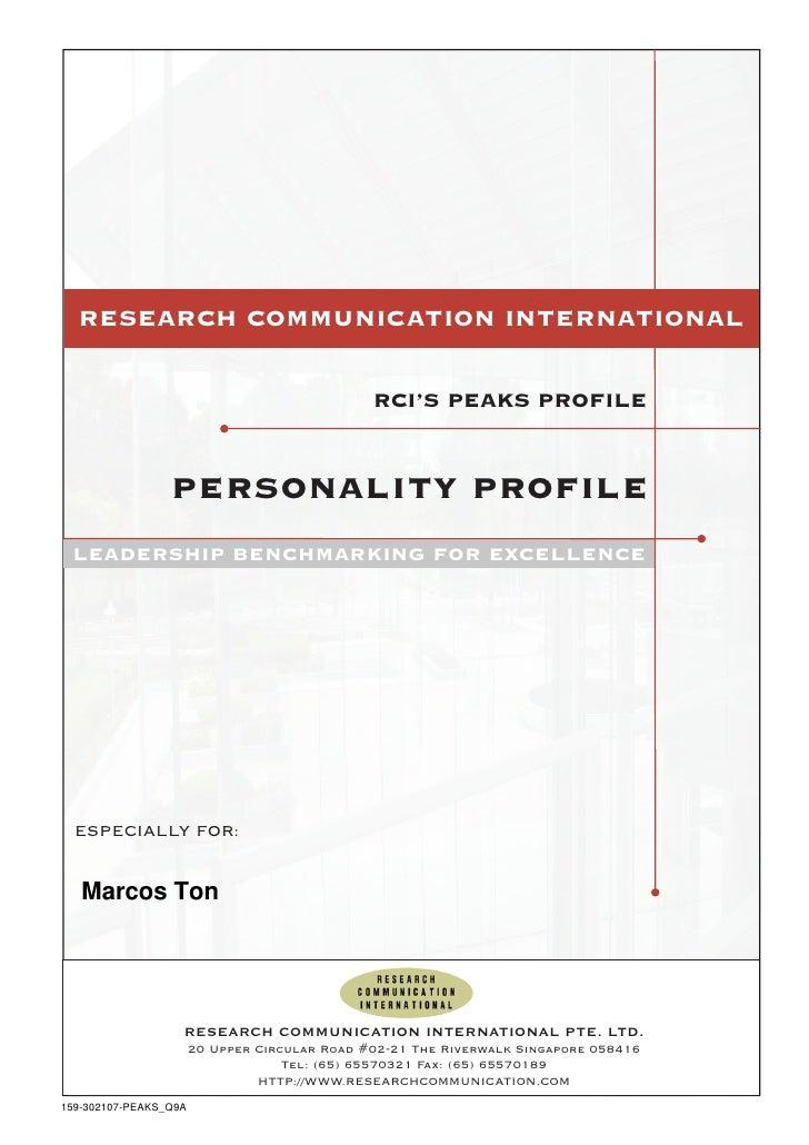 RESEARCH COMMUNICATION INTERNATIONAL                                               RCI'S PEAKS PROFILE                 per...