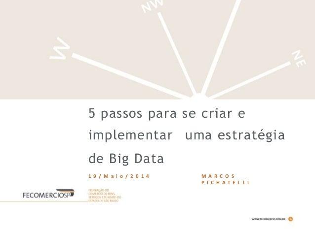 5 passos para se criar e implementar uma estratégia de Big Data 1 9 / M a i o / 2 0 1 4 M A R C O S P I C H A T E L L I