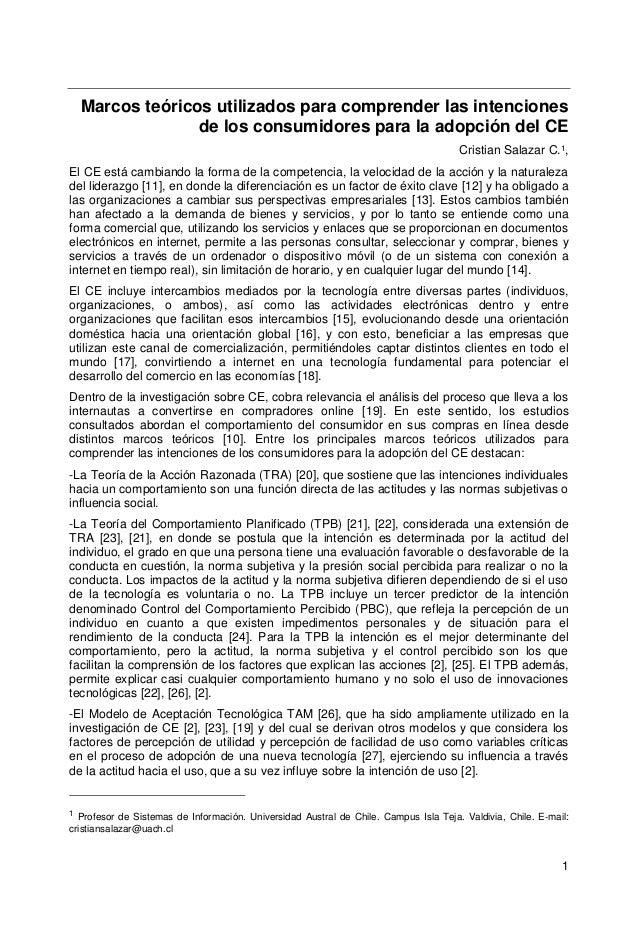 1 Marcos teóricos utilizados para comprender las intenciones de los consumidores para la adopción del CE Cristian Salazar ...