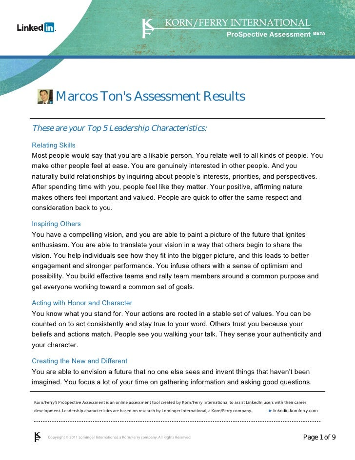 ProSpective Assessment           Marcos Tons Assessment ResultsThese are your Top 5 Leadership Characteristics:Relating Sk...