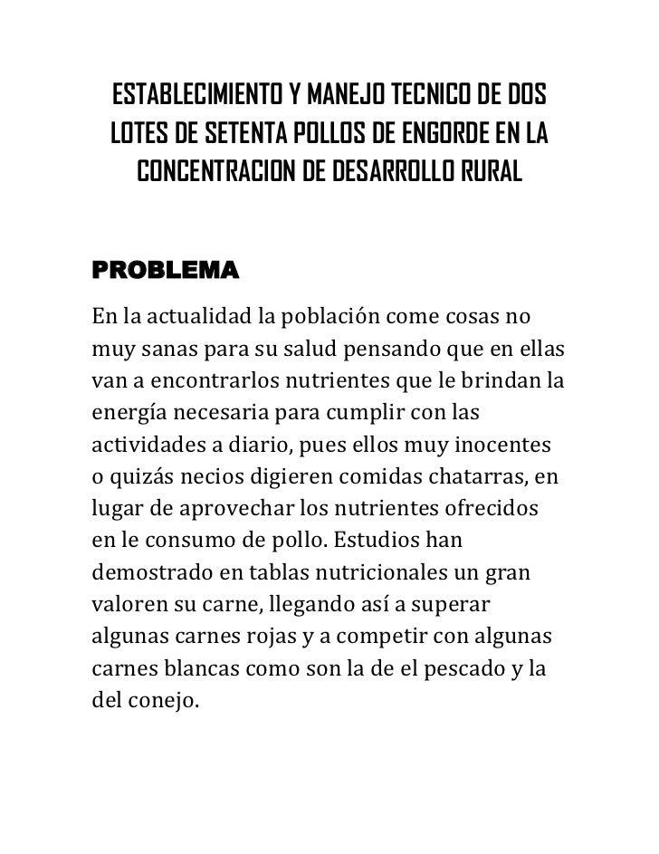 ESTABLECIMIENTO Y MANEJO TECNICO DE DOS LOTES DE SETENTA POLLOS DE ENGORDE EN LA   CONCENTRACION DE DESARROLLO RURALPROBLE...