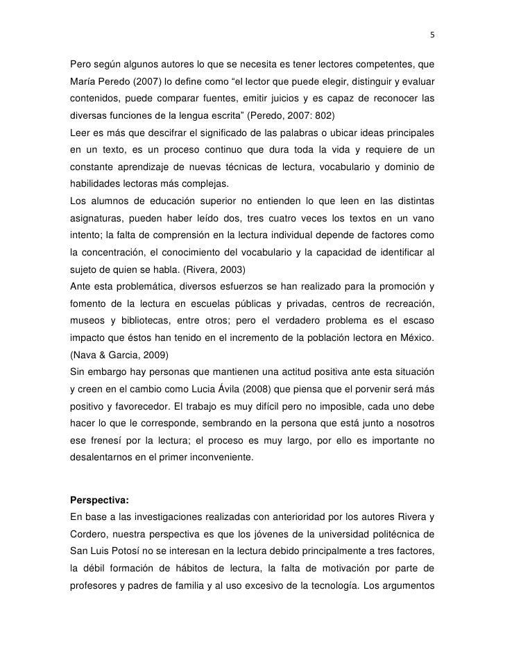 """5Pero según algunos autores lo que se necesita es tener lectores competentes, queMaría Peredo (2007) lo define como """"el le..."""