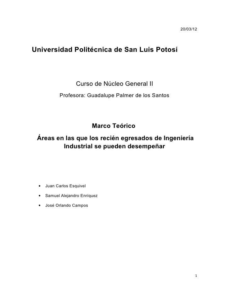 20/03/12Universidad Politécnica de San Luis Potosí                    Curso de Núcleo General II            Profesora: Gua...