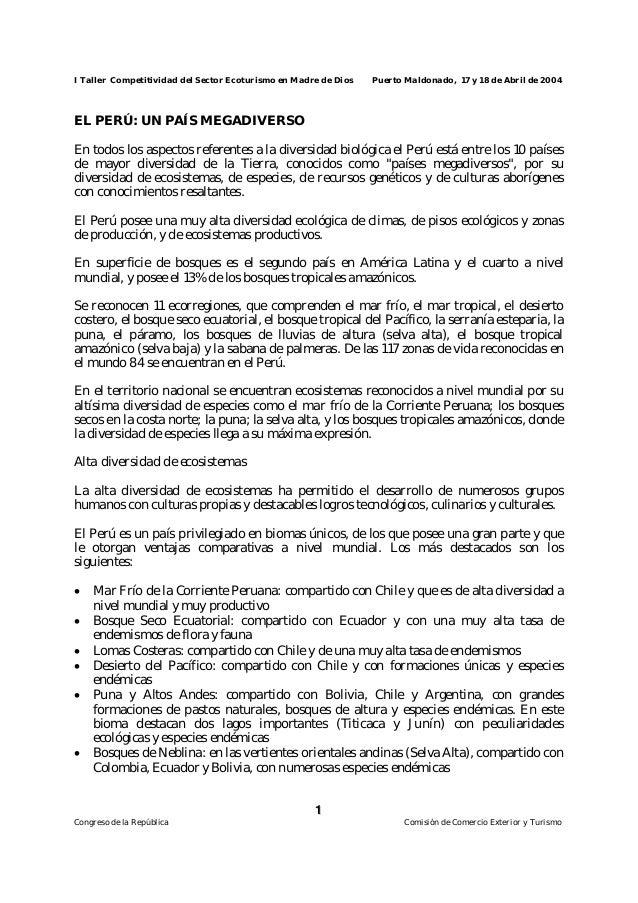 I Taller Competitividad del Sector Ecoturismo en Madre de Dios Puerto Maldonado, 17 y 18 de Abril de 2004  En todos los as...