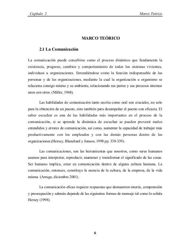 Capítulo 2 Marco Teórico 6 MARCO TEÓRICO 2.1 La Comunicación La comunicación puede concebirse como el proceso dinámico que...