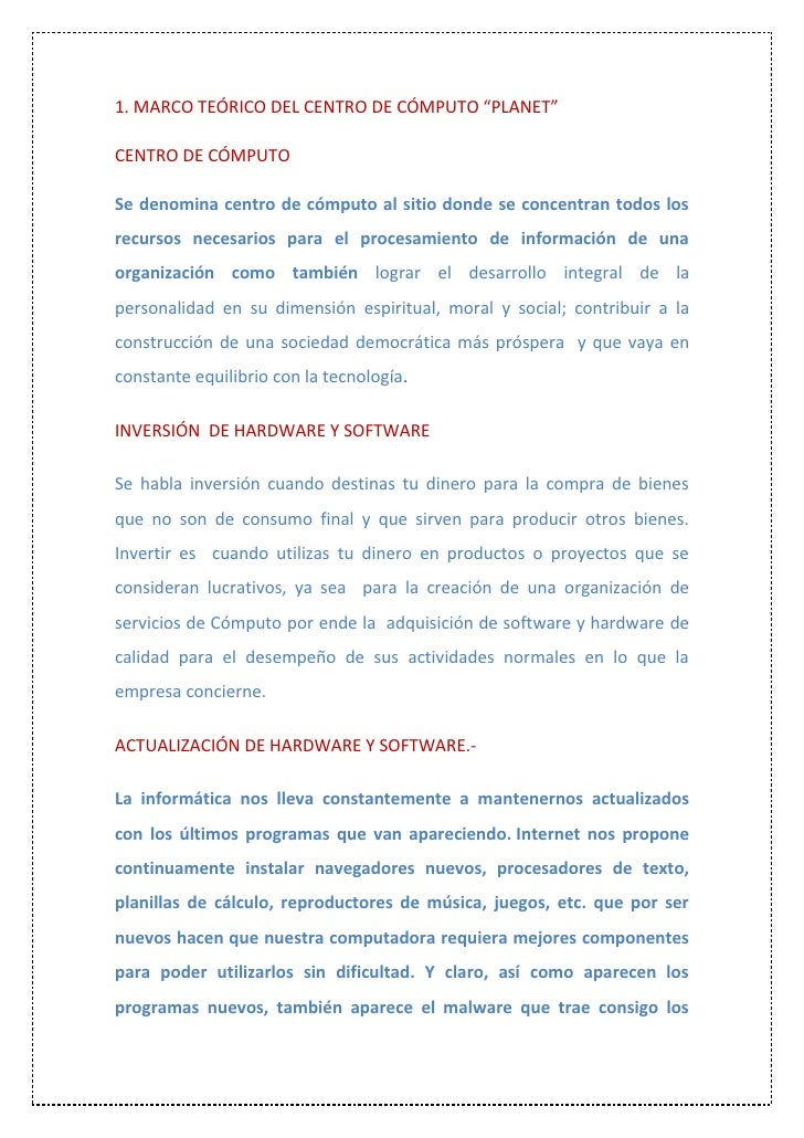 MARCO TEÓRICO DEL CENTRO DE COMPUTO \