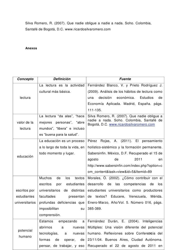 Silva Romero, R. (2007). Que nadie obligue a nadie a nada. Soho. Colombia,      Santafé de Bogotá, D.C. www.ricardosilvaro...