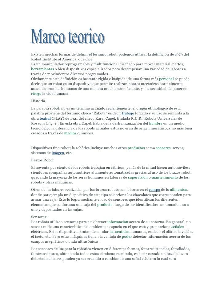 Marco teorico robot