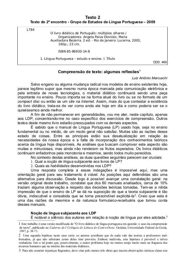 Texto 2Texto do 2º encontro - Grupo de Estudos de Língua Portuguesa – 2009L784O livro didático de Português: múltiplos olh...